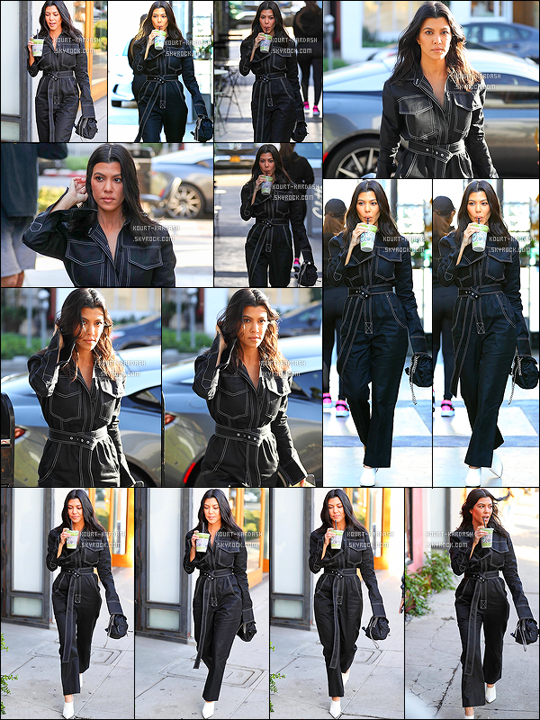 - 12/02/18 - Sirotant son smoothie, Kourtney a été vu dans les rues de Los Angeles. Top/Flop la combi ? -