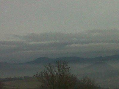 Premier jour, Les brumes du Puy en Velay entre le Puy et St Christophe sur Dolaizon