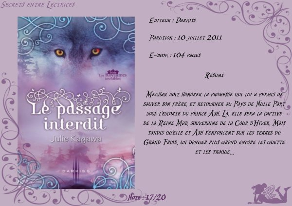 Les Royaumes invisibles Tome 1,5 : Le passage interdit de Julie Kagawa