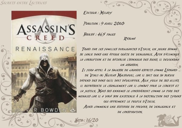 Assassin's Creed Tome 1 : Renaissance d'Oliver Bowden