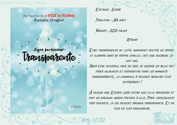 Signe particulier : Transparente de Nathalie Stragier