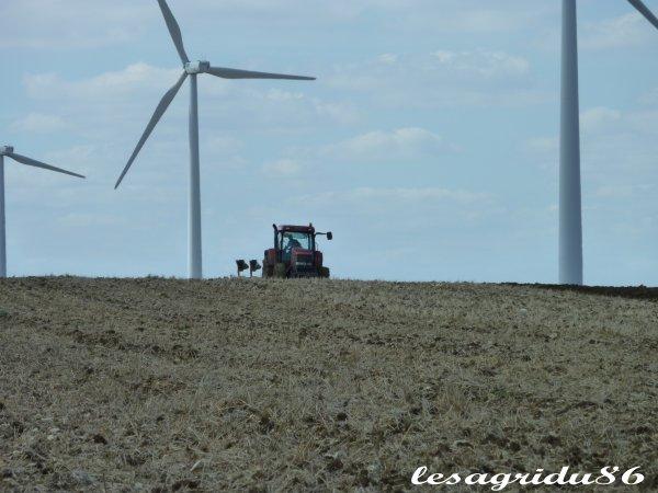 labours au pied des éoliennes