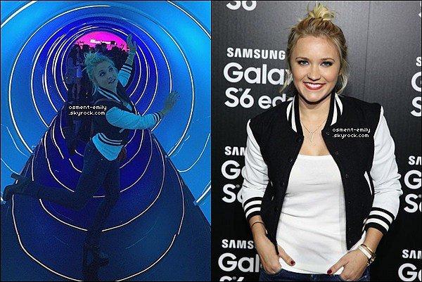 2 avril 2015 : Emily était Samsung Galaxy S 6 edge launch à Los Angeles.Em' a posté deux photos sur son compte Instagram, dont une avec la belle Emmanuelle Chriqui avec qui elle joue dans la série Cleaners.