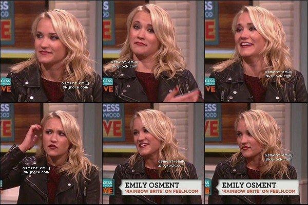24 novembre 2014 : Emily était dans l'émission Access Hollywood Live. Ils ont entre autre parlé de son rôle dans Young and Hungry mais aussi de Lilydans Hannah Montana, ils lui ont demandé si elle était toujours en contact avec Miley Cyrus.