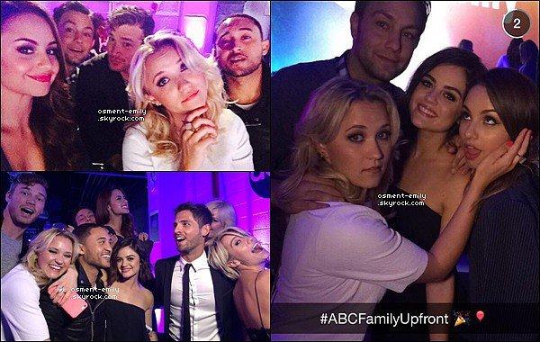 14 avril 2015 : Emily était au ABC Family Upfronts. Une partie du cast de Young and Hungry y étaient  ●● Em' & Aimee ne se quittaient pas lors de la soirée, elles sont toutes les deux sur presque toutes les photos ! Elles étaient ravissantes :)