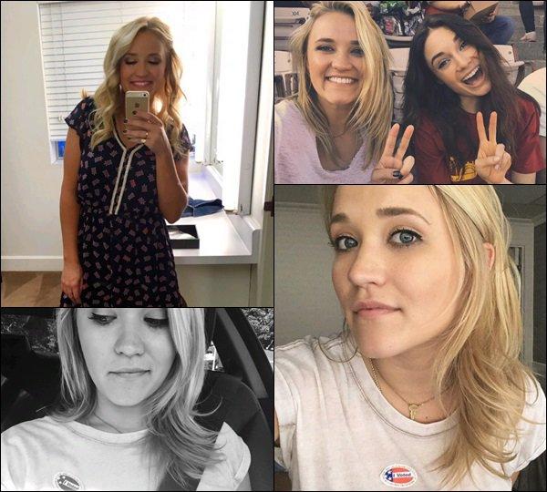 Début Novembre 2016 - Emily a posté de nouvelles photos sur les réseaux sociaux ! ●●03/11 Premier jour de tournage de Y&H, 06/11 assistant à un match avec son amie Mallory Jansen. et Emily le 08/11 le jour des élections