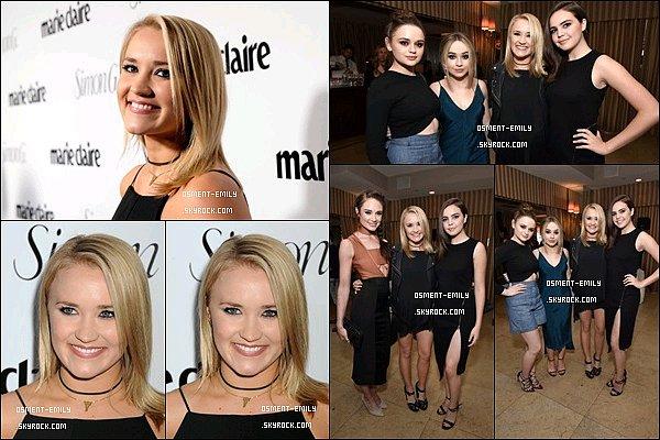 11 Avril 2016 : Miss Osment était présente à la Marie Claire Fresh Faces Party à New York City ●● Em' a fait de superbe photos avec sa grande amieMallory Jansen, mais aussi l'adorableBailee Madison. Elles étaient très jolies :)