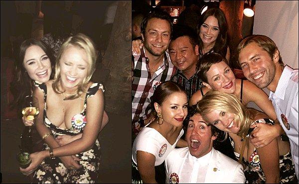 20 août 2016 : Emily était à une fête précèdent le mariage de l'adorable Aimee Carrero ●●Em' avait l'air de s'éclater, sa grande amie Mallory Jansen était également de la partie ainsi que le cast de Y&H