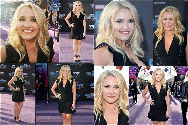 19 avril 2017 : Emily était présente à la première du film Les Gardiens de la Galaxy 2 à Hollywood ●● Emily était juste super canon dans cette petite robe noire ! J'adore ses cheveux et son maquillage, quelle beauté ♥