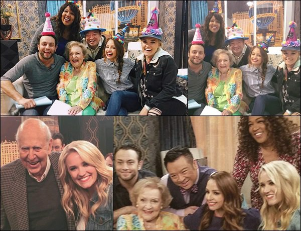 17 Janvier 2017 : Emily et le reste du cast de Young and Hungry ont pris des photos avec Betty White ●● Emily a également posé avec Carl Reiner, elle est superbe avec les cheveux légèrement ondulés et son sourire *__*