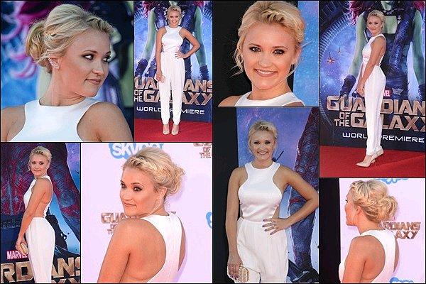 21 Juillet 2014 : Emily était présente à la première du film Les Gardiens de la Galaxieà Los Angeles ●● Emily était tout simplement renversante ! J'adore sa combinaison blanche ainsi que sa coiffure, une pure merveille ♥