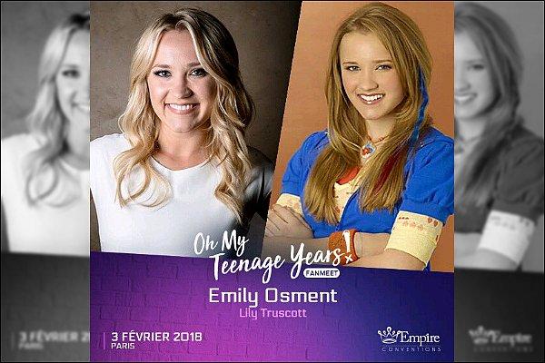 Emily se rendra à Paris le 3 février 2018, dans le cadre d'une convention organisée par Empire Conventions ●● Oh mon dieu, Je suis tellement impatiente d'y être et de pouvoir la rencontrer, ça va être une journée vraiment géniale *__*