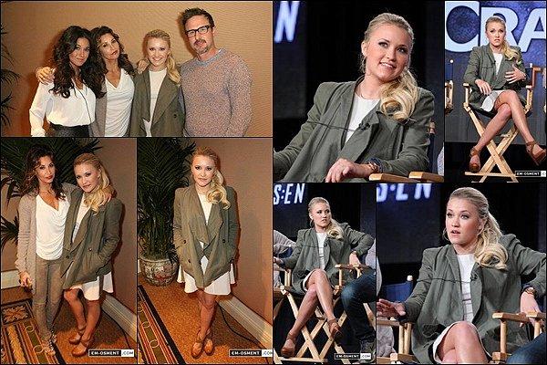 12 Janvier 2014 : Emily & le reste du cast de Cleaners était présents aux Crackle TCA Presentation ●● Emily était vraiment superbe, j'aime beaucoup sa petite robe blanche avec sa veste kaki, c'est un TOP pour moi :)
