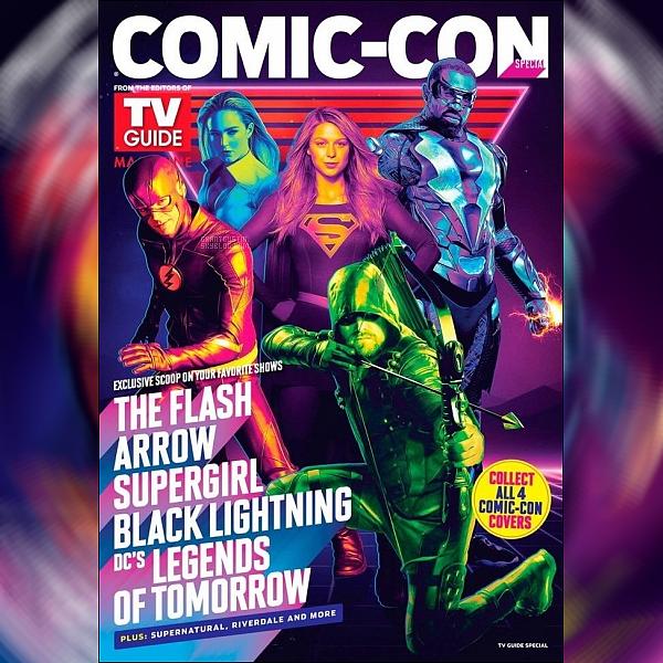 """NEWS :  Les super héros (dont flash) en couverture du magazine """" TV Guide"""" ! Disponible dans les kiosques journauxà compter du 17 juillet ! 3 autres couverture Supernatural / Riverdale / Mad magasine"""