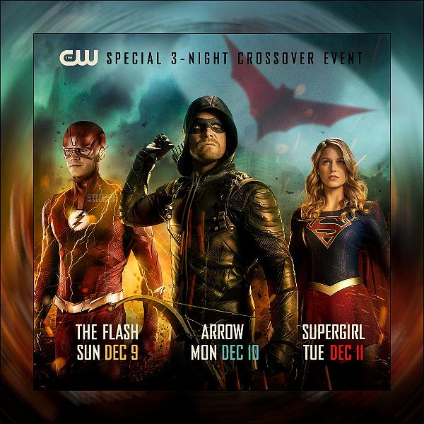 DECOUVRE L'AFFICHE POUR LE CROSSOVER FLASH ARROW ET SUPERGIRL  !  • Le CW a annoncé les dates de l'événement de cross-over de cette année. Le crossover, qui présentera également Batwoman, débutera avec The Flash le 9 décembre, puis se poursuivra avec Arrow le 10 décembre et se terminera avec Supergirl le 11 décembre. Notamment, Legends of Tomorrow ne fera pas partie du crossover cette fois. !(source)