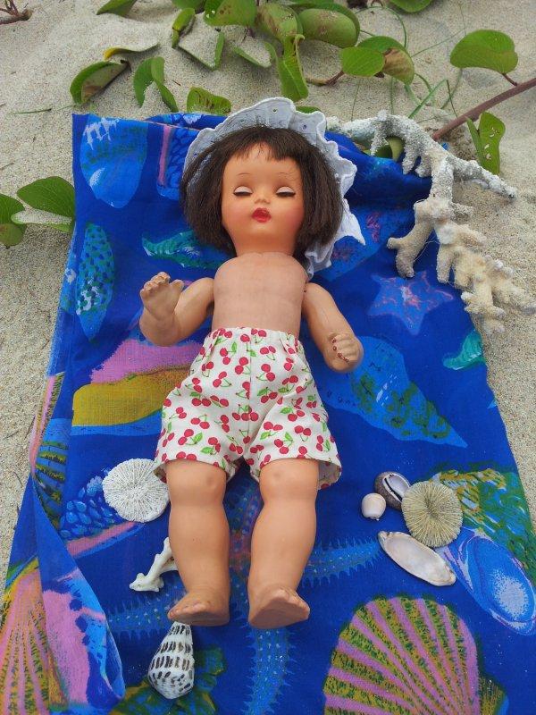 Annie sur la plage de la Saline les Bains ...