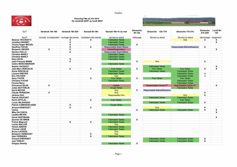 Planning Fête du Vin 2014