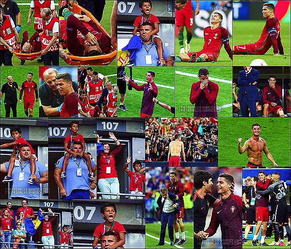 . 09/07/16 - Cristiano Ronaldo lors de la Finale de l'Euro 2016 au Stade des Princes à Paris, Victoire! Cristiano et l'équipe du Portugal ont disputé leur dernier match lors de la Finale de l'Euro 2016 en la remportant 1-0 ! Mais Cristiano blessé....