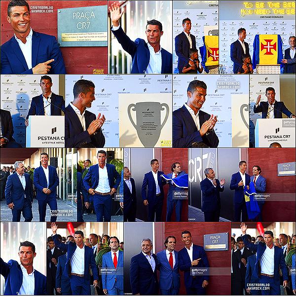 . 24/07/16 - Cristiano  à la cérémonie d'ouverture de son Hotel à Funchal à Madère sa ville natale. Cristiano Ronaldo et son fils Cristiano Junior étaient présents pour l'ouverture de son hotel à Madère au Portugal, sa ville natale. .