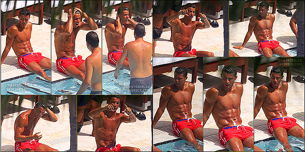 . 02/08/16 - Cristiano Ronaldo  a été aperçu avec des amis à la piscine à Miami, en Floride toujours !  Cristiano Ronaldo a encore quelques jours de vacances de quoi bien profiter de la piscine et bronzette avec ses amis à Miami pendant un moment .