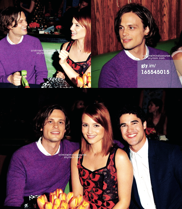 * 3 Avril 2013 Matthew était présent au Vogue's 'Triple Threats' dinner hosted   *