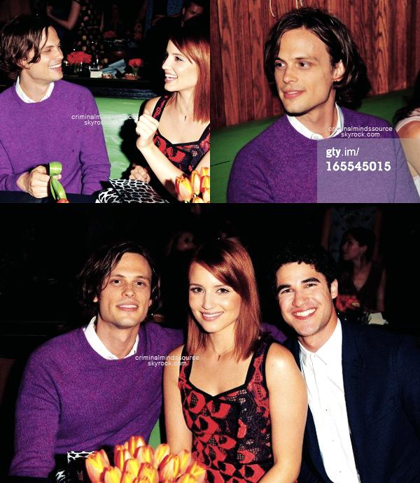 * 3 Avril 2013 Matthew était présent au Vogue's 'Triple Threats' dinner hosted   *
