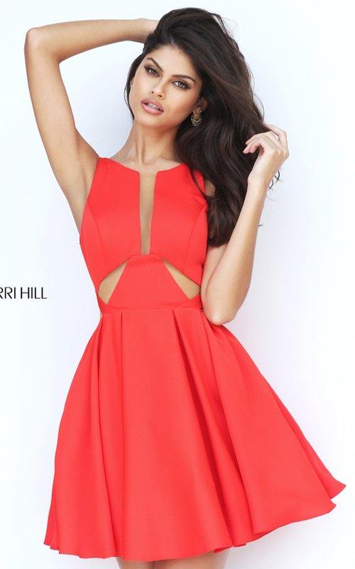 Cutout Sherri Hill S50660 A Line Homecoming Dress