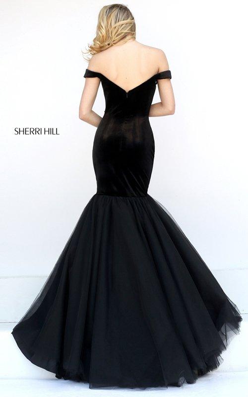 Sherri Hill Velvet Tulle Mermaid Evening Dress 50717