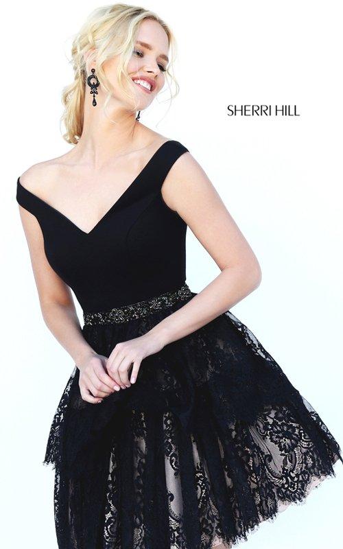 Sherri Hill 50635 Lace V Neck Short Cocktail Dresses