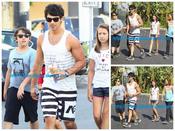 Frankie Jonas with Joe and their cousins grab some coffee- August 3, 2012