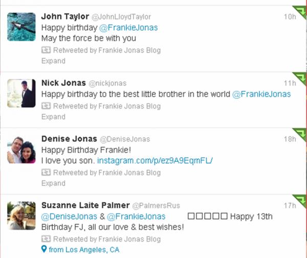 Twitter- Frankie Jonas's 13th birthday
