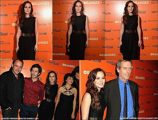 """14/09/2012  Leighton M. était attendue à NY pour célébrer la sortie au cinéma son film """"The Oranges"""". (+) Les SCANS du photoshoot de Leighton Meester pour """"LUCKY""""ici."""