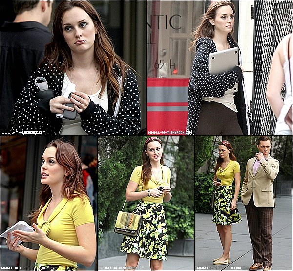 10/08/2012 Leighton Meester sur le set de Gossip Girl avec ses co-Star (Ed Westwick & Kelly Rutherford).