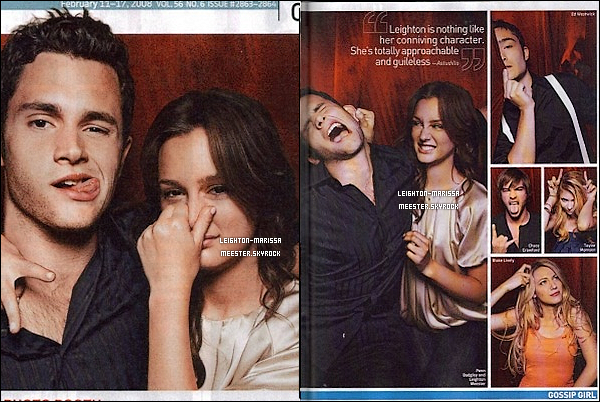 _    _   ___ _♦ RUBRIQUE_ _ MAGAZINES ♥ Leighton ©   _  Retour debut 2009 ; Avec  TV Guide magazine, Entraintment Weekly, Watch Magazine & Instyle Germany.  Tu aime ces scans & covers ? Tu les avaient déjà vu ? ._   _