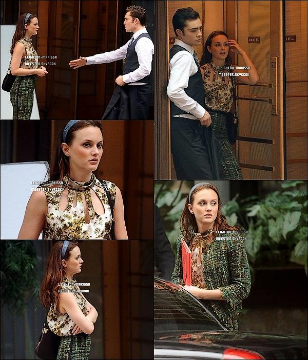 _   __03/09/10_ Lei' tournant une scène de Gossip Girl en compagnie de Ed Westwick puis rentrant chez elle. _:_Pour moi, c'est un énorme TOP pour la tenue personnelle de Leighton, et toi, tu en pense quoi ? TOP ou FLOP ?   _