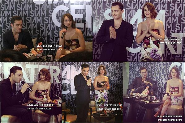 _  11/01/13   _Leighton M.  était à Bangkok en compagnie d'Ed Westwick pour l'ouverture du « Siam Center ». Lei' était rayonnante - grâce à Ed...?_.Que penses-tu de sa tenue ?    _