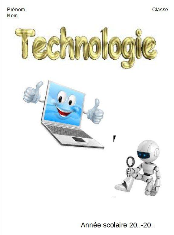 Page de garde pour cahier de technologie
