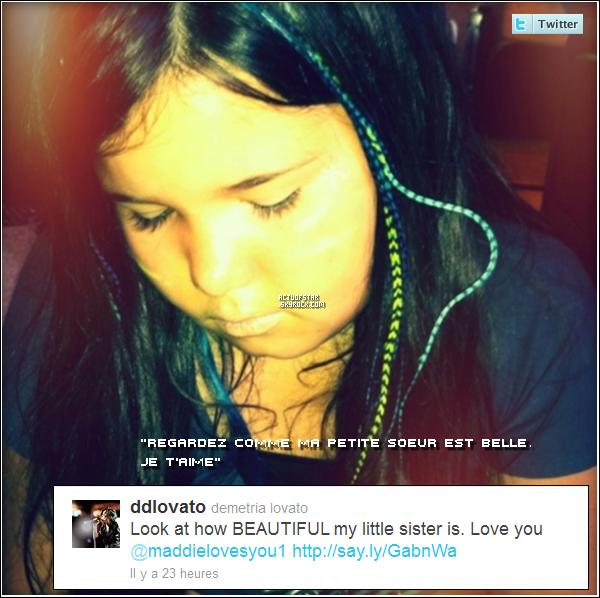 Miss Demi Lovato a posté sur son Twitter récemment une photo de sa (demi) petite soeur : Madison.