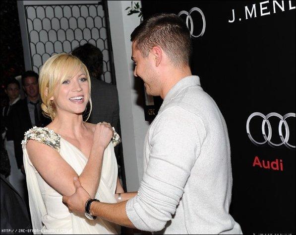 Le 9 Janvier 2011 : Hier soir, Zac a assisté à la Audi et Designer J. Mendel Kick Off Célébration de la Semaine Golden Globe 2011 au Cecconi's Restaurant  à Los Angeles . Il a posé avec son ami Brittany Snow !   Top or Flop ?