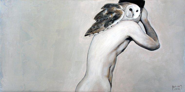 """""""Icarus- I"""" - acrylique sur toile (30x60cm)."""