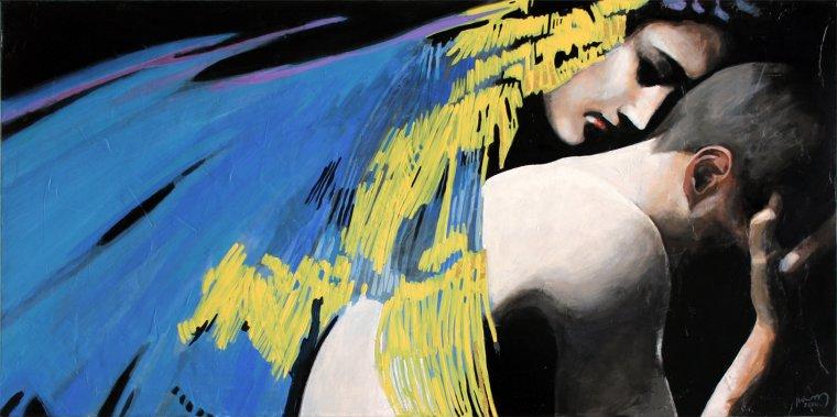 """""""Ariane, ma soeur..."""", acrylique et feuille d'or sur toile, 50x100cm."""