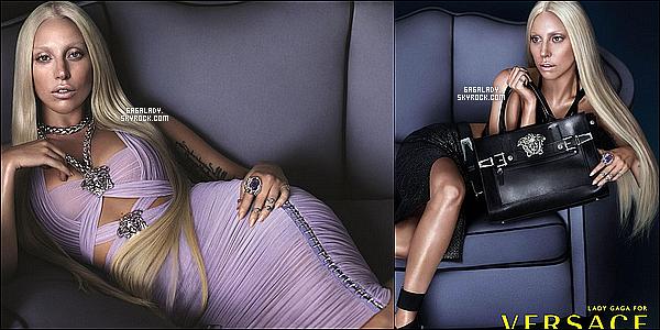 Lady Gaga devient le nouveau visage de la marque VERSACE voici deux photos de promotion.
