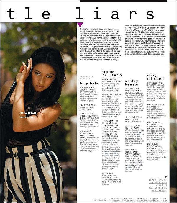 *   _._  Actualité du 03/09/2010 Scan du célèbre magazine « Nylon » (sept. 2010) où Ashley, Lucy, Troian et Shay y ont récemment accordés une interview.  *