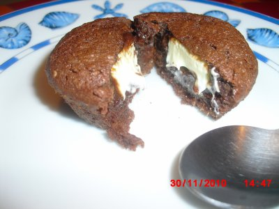 Fondant Chocolat Noir Noix de Coco et Coeur Chocolat Blanc