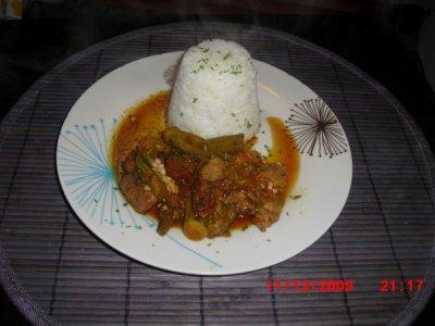 Porc rousi sauce Gombo