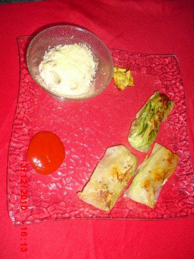 Petit Gratin Igname Et Bananes Vert Briks Poulet Curry et Soja Courgettes