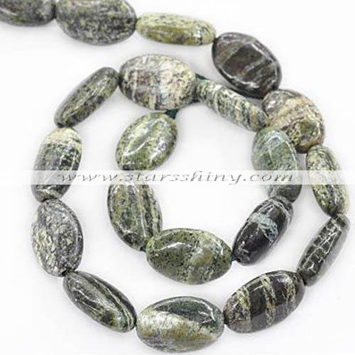 Green Silver Line Jasper Beads, 13*18mm oval. Sold per 15.5-inch strand