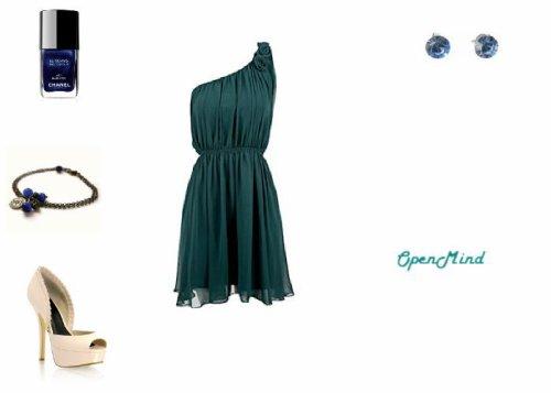 tenue 015 robe bleu bleu marine beige talons soir e open mind. Black Bedroom Furniture Sets. Home Design Ideas