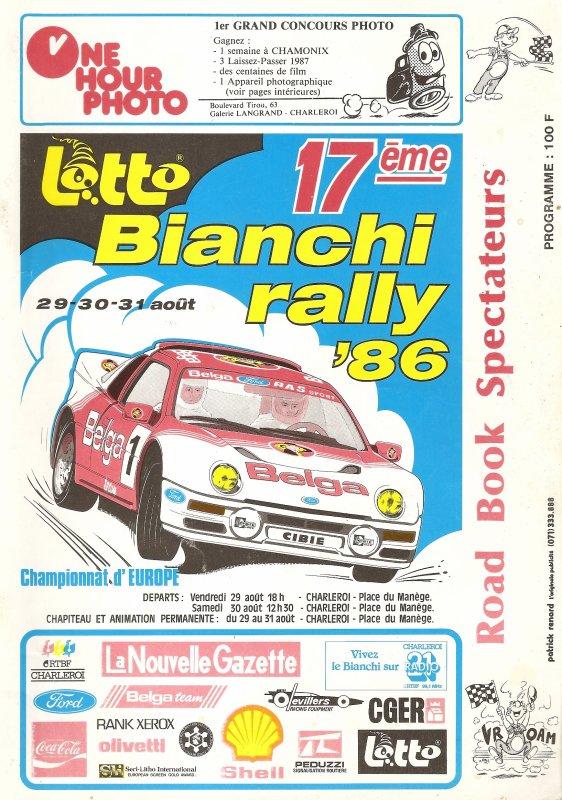 29 AU 31 AOUT 1986 - 17ème LOTTO BIANCHI RALLY (BELGIQUE)