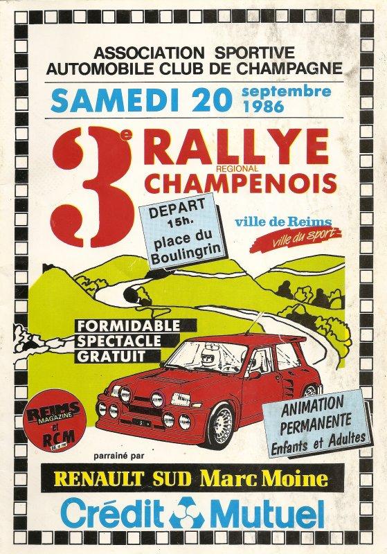 20 SEPTEMBRE 1986 - 3ème RALLYE CHAMPENOIS (51)